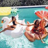 Inflatable Swimming Pool Float Summer Lake Beach Giant Ride on White Swan Swimming Lounge Rose Gold Flamingo Lifebuoy Toys Raft