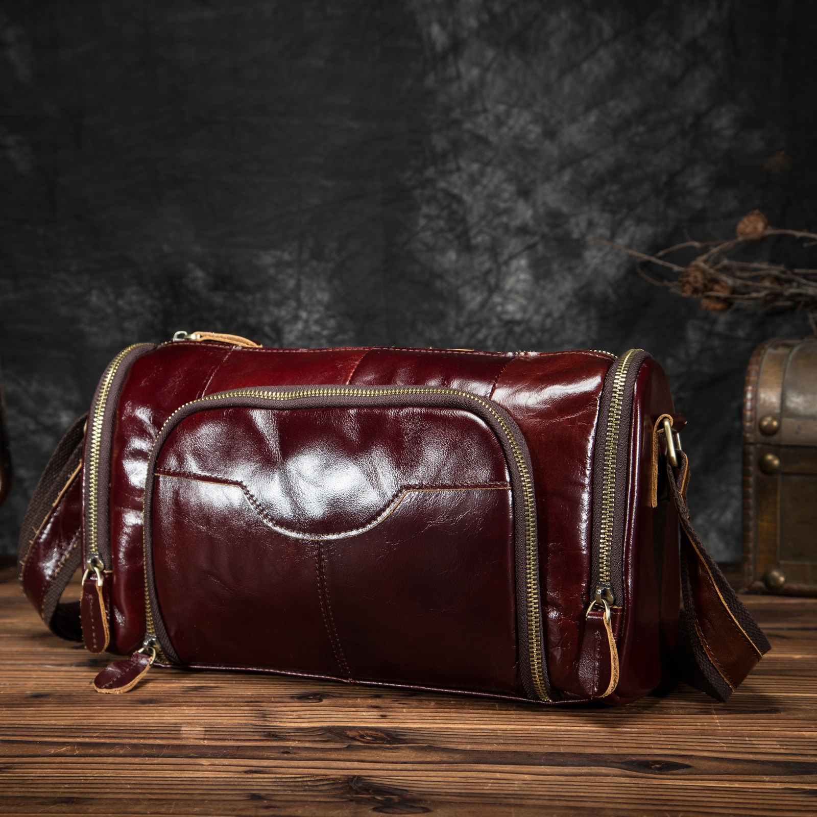 Original Leather Coffee Male Design Casual College Shoulder Messenger bag Fashion Mochila Satchel Sc