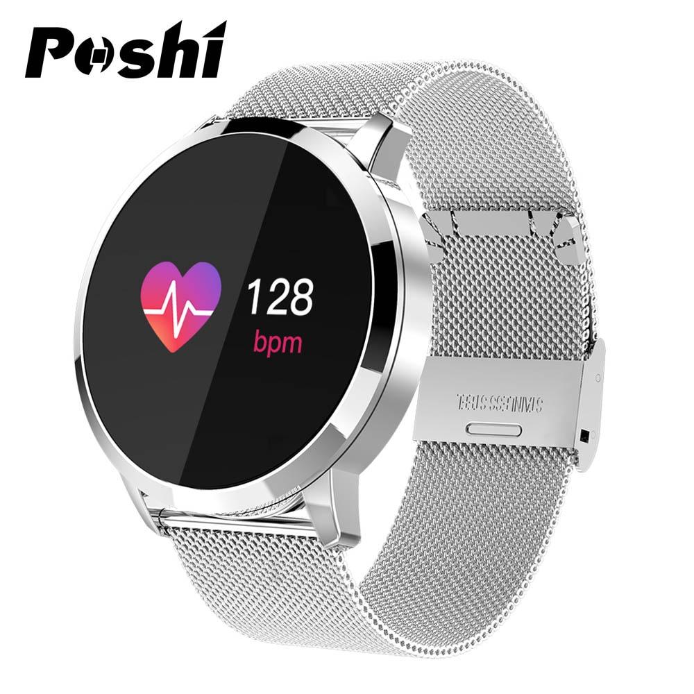 بلوتوث ساعة ذكية ساعة رياضية للرجال الرقمية مقاوم للماء معدل ضربات القلب الفولاذ المقاوم للصدأ حلقة من جلد ساعة ذكية النساء relogio reloj