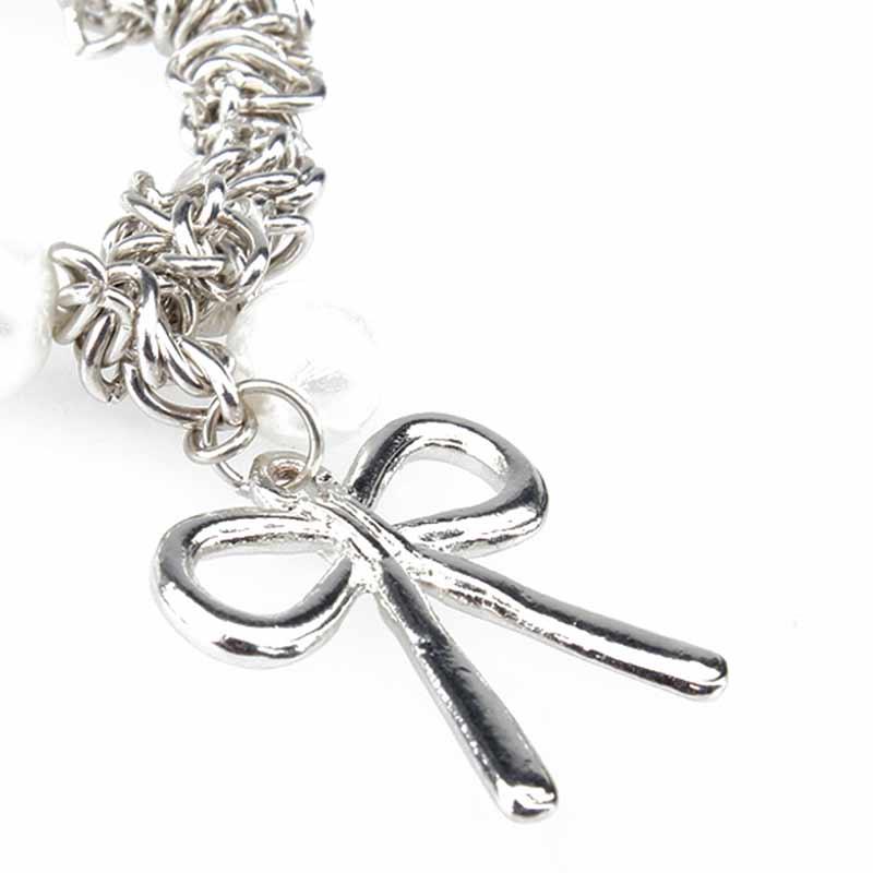 Gran oferta de pulseras de goma con bonito lazo de estilo veraniego, brazalete con abalorio de perla de imitación, perlas de imitación de mujer, regalo de joyería LXH