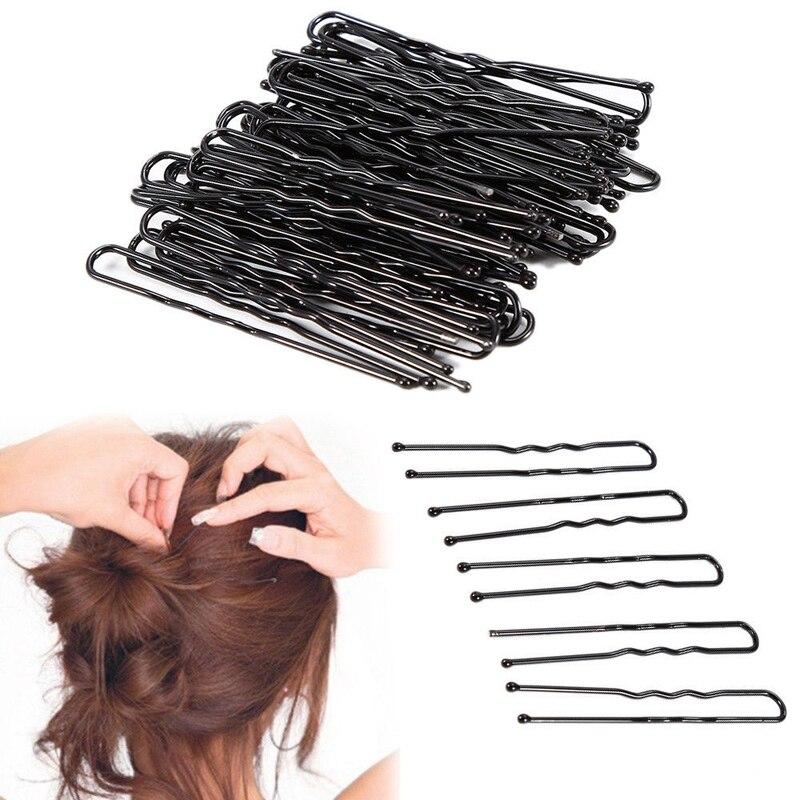 Loeel 100 pçs/lote grampos de cabelo preto u-shaped grampos de cabelo barrette mini 4.5cm 5cm 6cm metal chapeado marrom bobby pinos para meninas