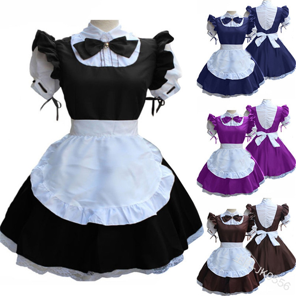 Mujeres señoras moda manga corta muñeca Collar Retro Maid Dress Cute French Maid traje Cosplay traje