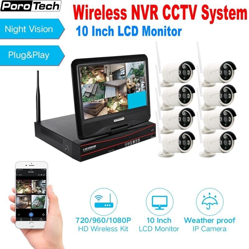 P2P CCTV 8CH 960P 1080P H.265 WIFI NVR KIT 10 Monitor 8 canal CCTV inalámbrico sistema de seguridad IP Wifi Cámara Bluetooth
