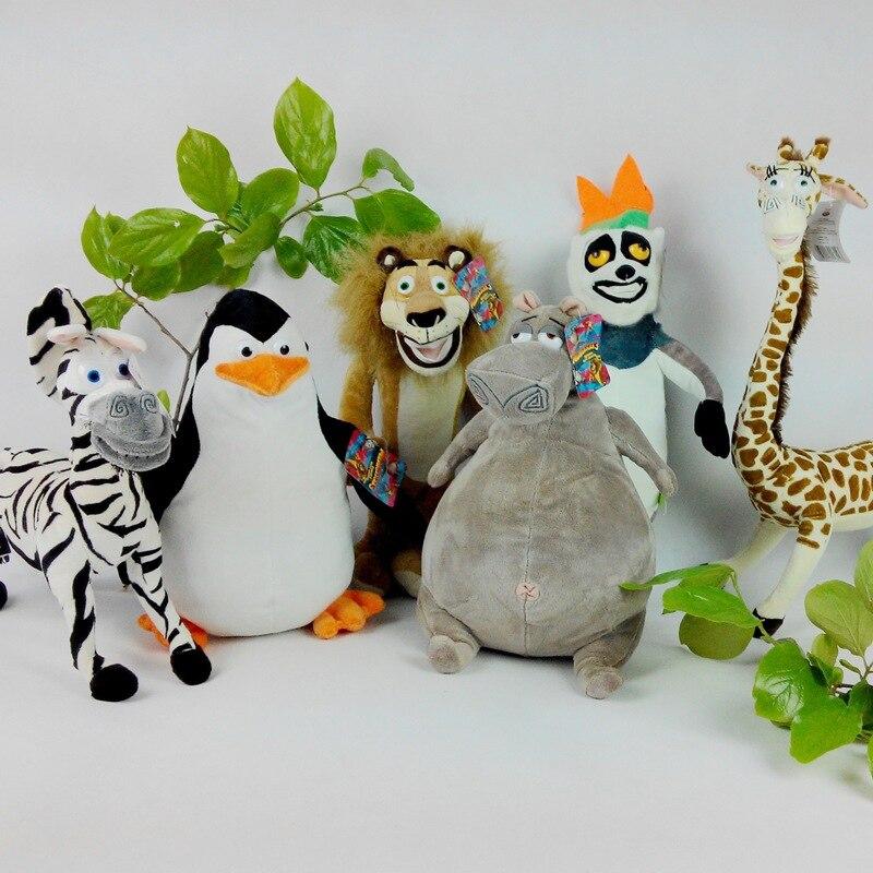 Envío gratis una pieza película Madagascar 3 juguetes de peluche de pingüino juguete León E hipopótamo cebra jirafa PP Coyyon muñecas de peluche 6 animales