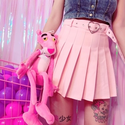 2019 New Summer Preppy Style Sweet Love Heart Buckle Belt Plaid Pleaded Skirts Women Harajuku High Waist Pink Slim Mini Skirts