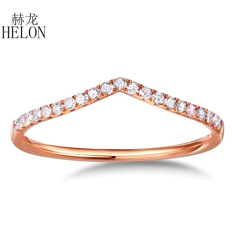 HELON Real Diamonds Banda das Mulheres Finas Jóias Sólido 10 K Rose Gold Pave Diamantes Naturais de Noivado Casamento Eternidade Fina anel