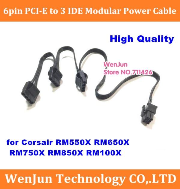 High Quality PCI-E 6pin Male to 3*IDE Molex 4pin Modular Power supply cable for Corsair RM1000X RM550X RM650X RM750X RM850X