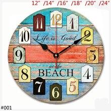 Horloge murale Antique en bois bleu Orange   Horloge murale ronde bon At la plage, avec chiffres arabes imprimés de 12, 14, 16, 18, 20, 24 pouces
