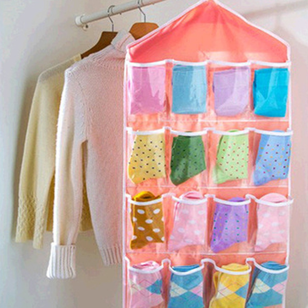 Dropshipping 16Pockets Clear Hanging Bag Socks Bra Underwear Rack Hanger Storage Organizer