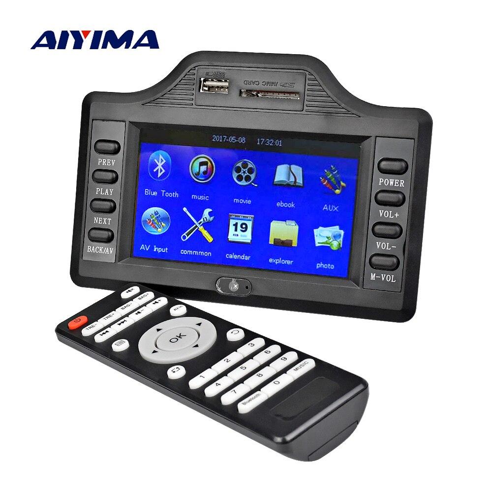 AIYIMA сабвуфер Bluetooth усилитель плата 50 Вт * 2 + 100 Вт 4,3 дюйма LCD Bluetooth приемник Auido декодер MP4 MP5 видео декодирование DC12V