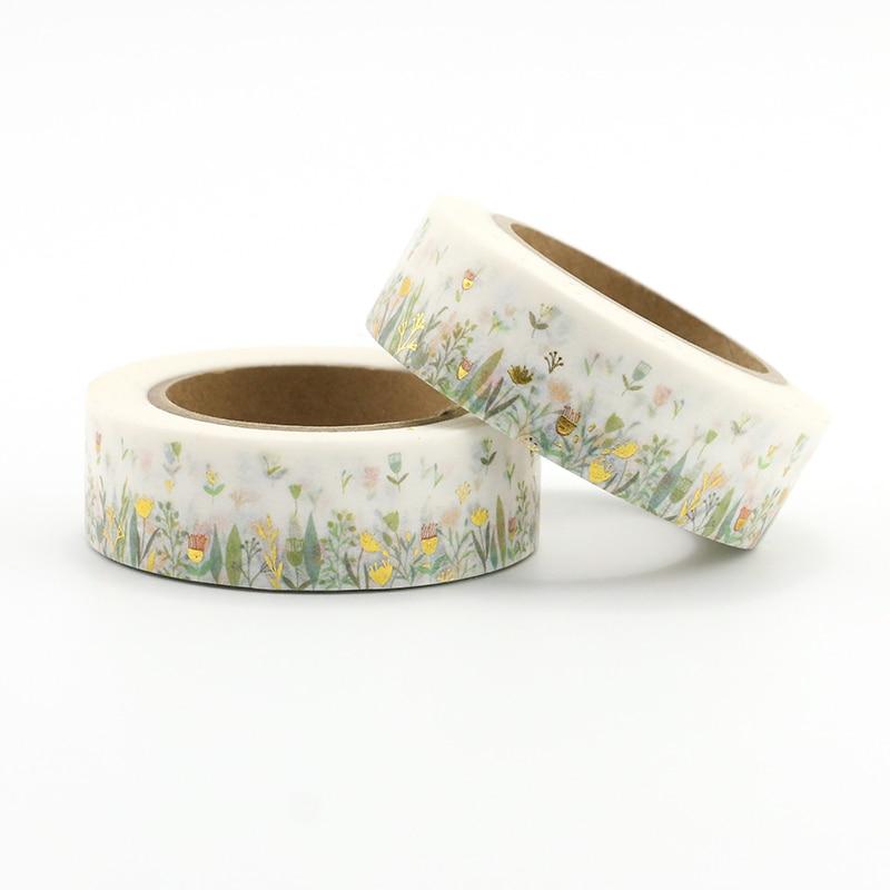 1pcs colorful foil plants 1PCS colorful foil plants & floral washi tape DIY Decoration Scrapbooking Planner Masking Tape Kawaii Stationery Adhesive Tape