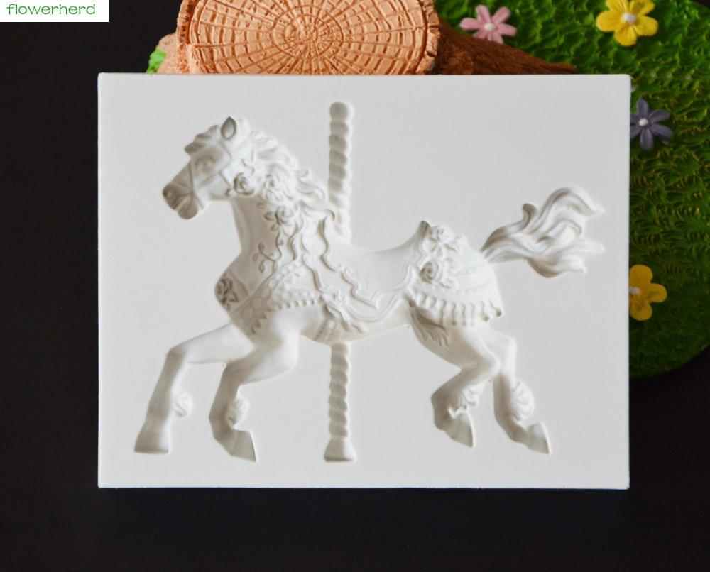 2018 nuevo molde giratorio de caballo para Cara de Bebé molde de Fondant herramientas de Decoración de Pastel molde de silicona para chocolate torta molde personalizado herramienta de hornear