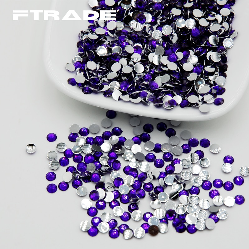 Diamantes de imitación acrílicos redondos de 5mm, gran venta de diamantes de imitación Violetas de Color 5000 Uds con parte posterior plana, diamantes de imitación no Hotfix para decoración de ropa Diy
