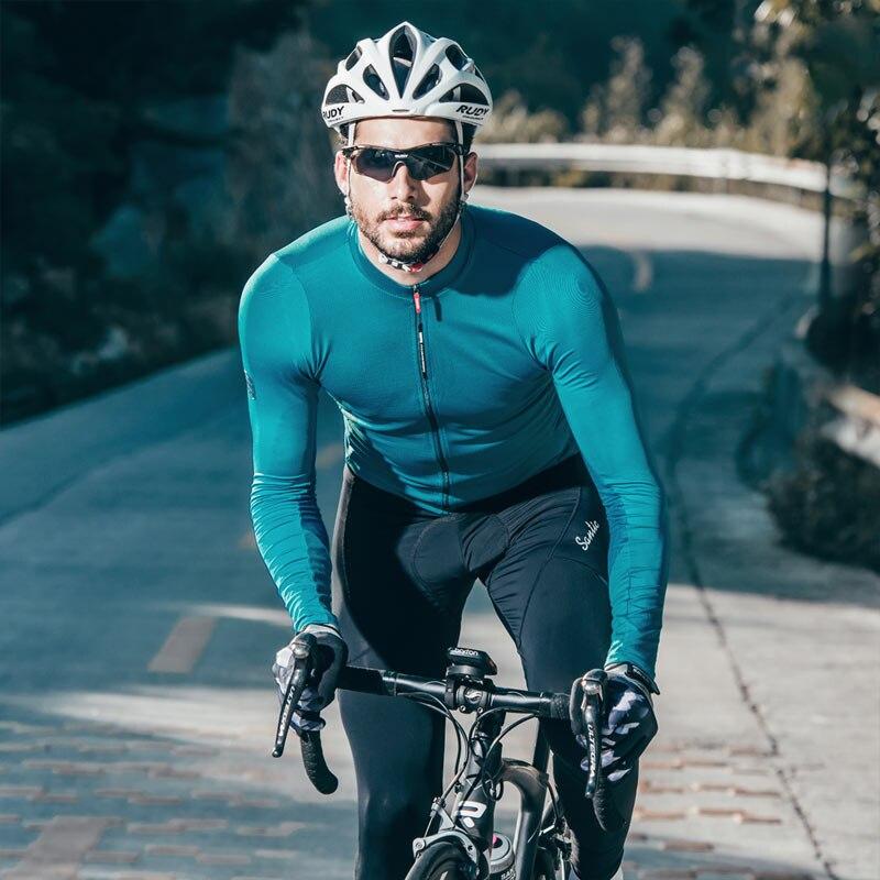Santic camisetas de Ciclismo profesional de los hombres MTB cuesta abajo transpirable manga larga Jersey ropa para bicicleta de montaña Maillot Ciclismo