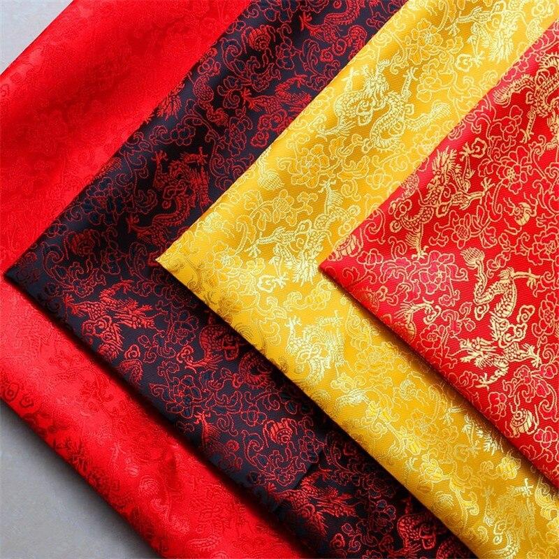 CF436 1meter 150cm Width 4color High Quality Dragon Jacquard Brocade Fabric For Chinese Festival Wedding Dress Qipao Satin Cloth