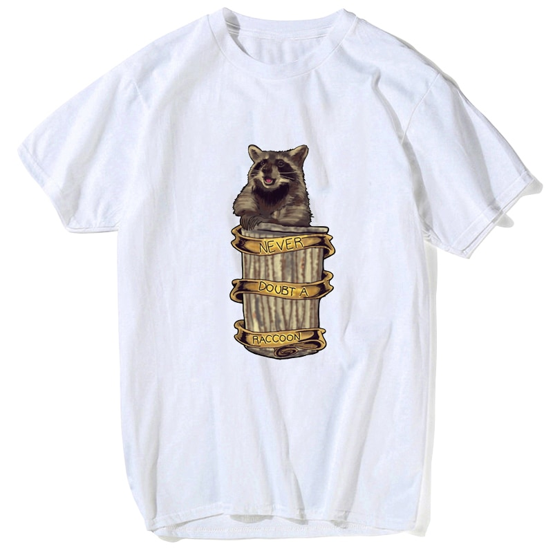 2019 Rocket Raccoon NEVER DOUBT A RACCOON Tee Shirt Guardians of The Galaxy Movie Casual T-shirt Men Fashion Boys Tops Tee