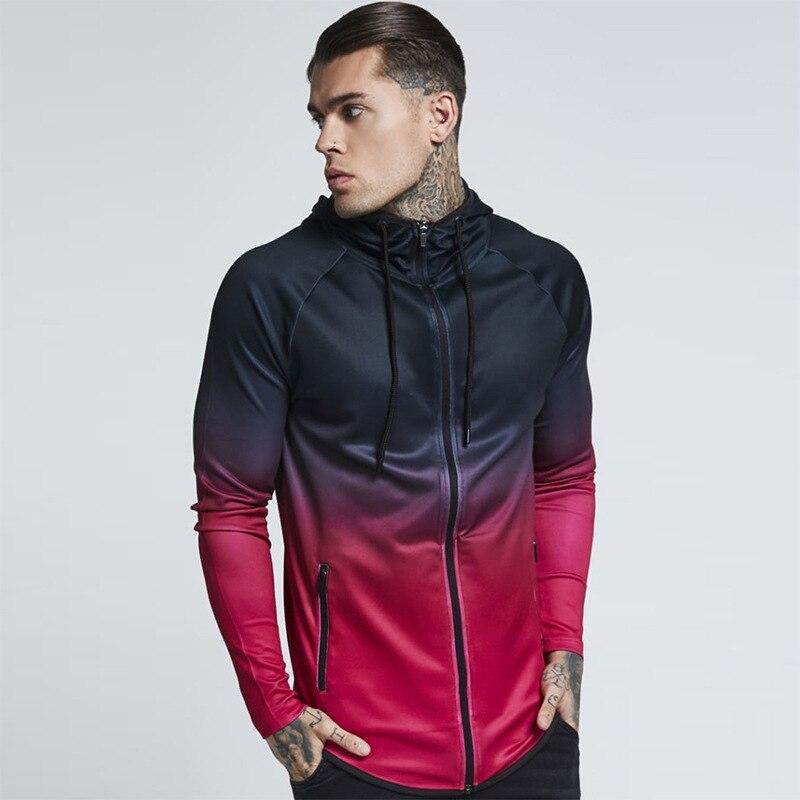Male 3D Hoodies Zipper Casual Tracksuit Pocket Hooded Sweatshirt Men Black Red Purple Gradient Streetwear Hip Hop Hoodie,W04