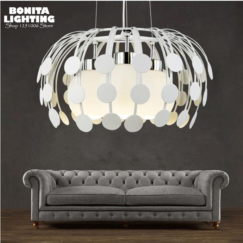 milky glass ball hanging lamp led modern water beads pendant lights dinning room  chrysanthemum Iron cord pendant lamp