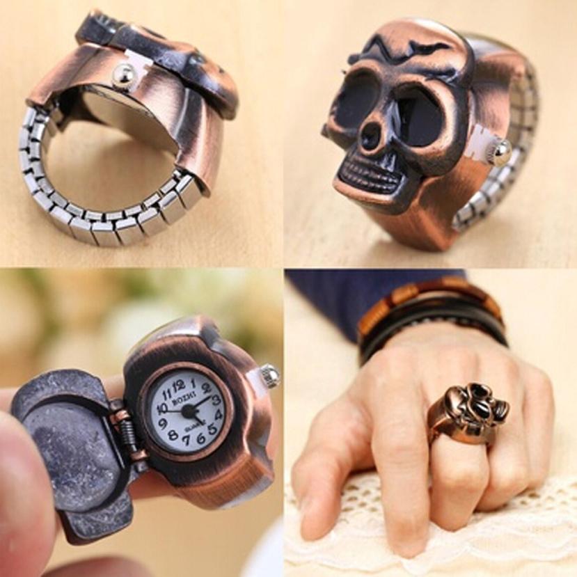 2017 новая мода унисекс Ретро Винтаж палец череп кольцо часы раскладушка часы L7313