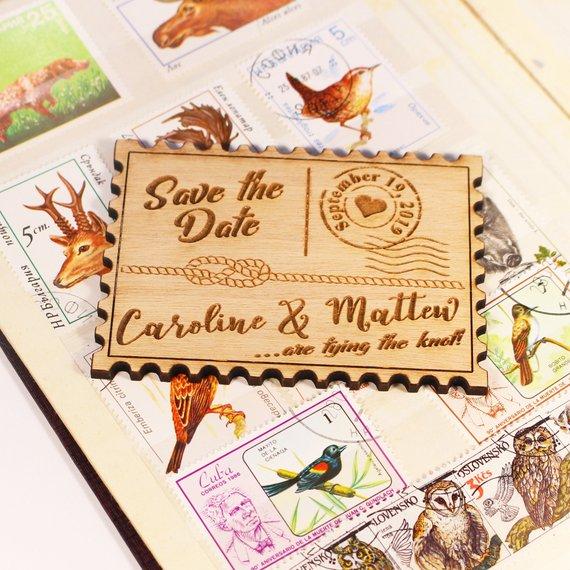 Sello WoodenPost guardar el imán de fecha, tarjeta postal para boda imanes de madera, imanes rústicos para nevera
