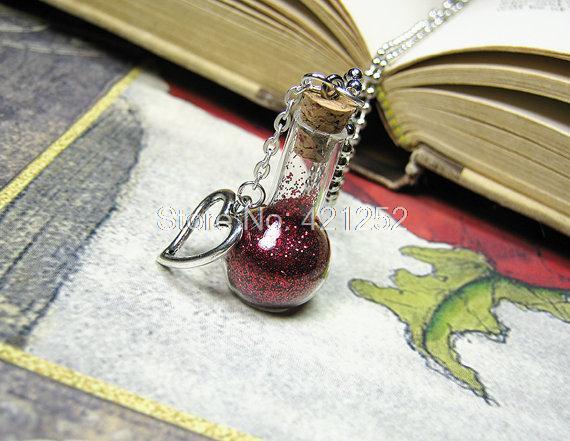 12 unids/lote poción de amor collar de copo de nieve de San Valentín colgante de corazón bombilla frasco, botella de vidrio colgante de joyería