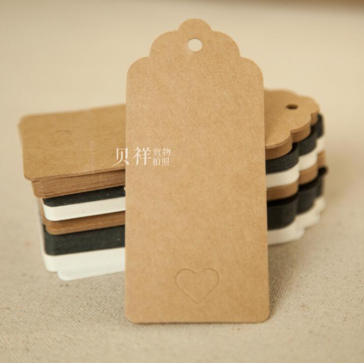 Livraison gratuite Stock blanc kraft cadeau étiquettes carton prix étiquettes bricolage notes étiquettes brun papier étiquettes 100 pièces lot