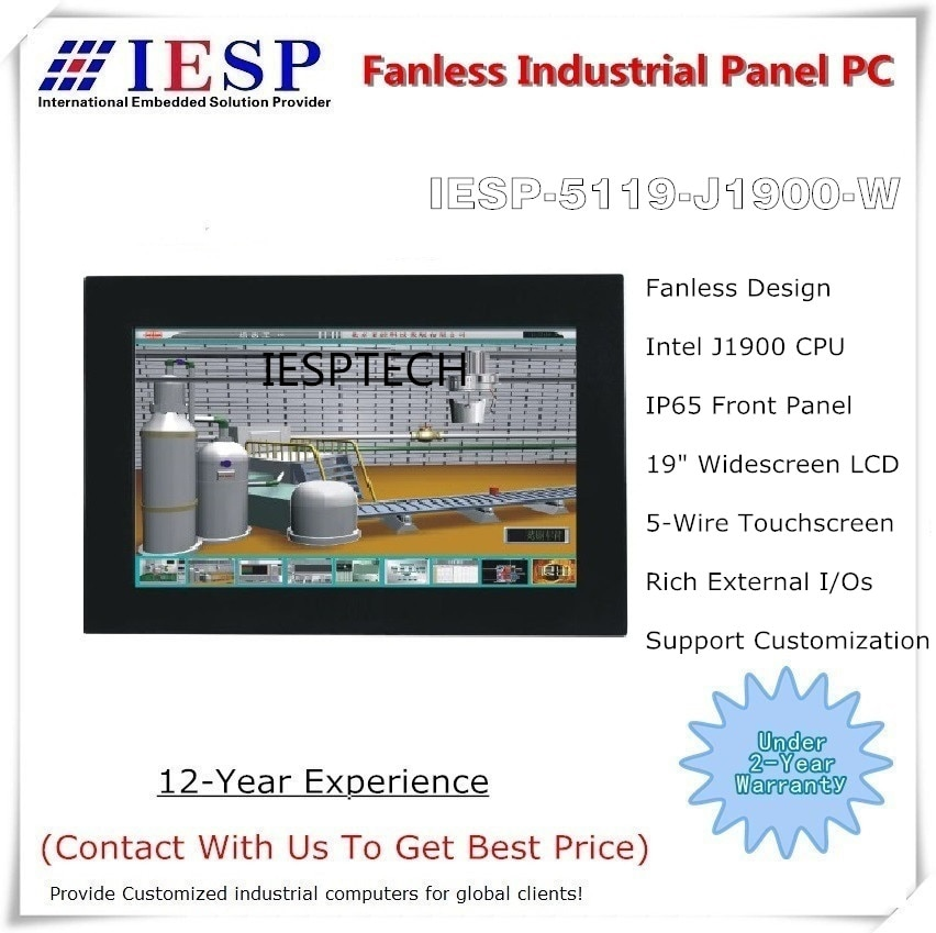Fanless industrial panel pc, 19 inch widescreen LCD, J1900 CPU, 4GB RAM/500GB HDD, widescreen panel pc, industrial HMI