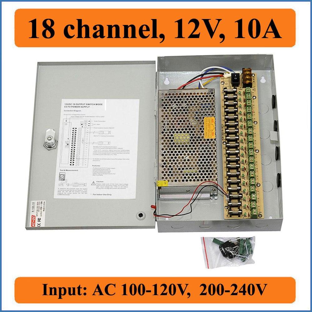 18 قناة DC12V 10A كاميرا تلفزيونات الدوائر المغلقة صندوق الطاقة الأمن كاميرا فيديو جدار شنق صناديق تحويل التيار الكهربائي 18CH ميناء 10A