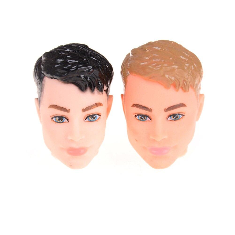 2 piezas, Original, cabeza de muñeca para niño/al azar, negro y Normal, accesorios DIY para cabeza de piel para 1/6, novio, muñeco Ken, juguetes para niños