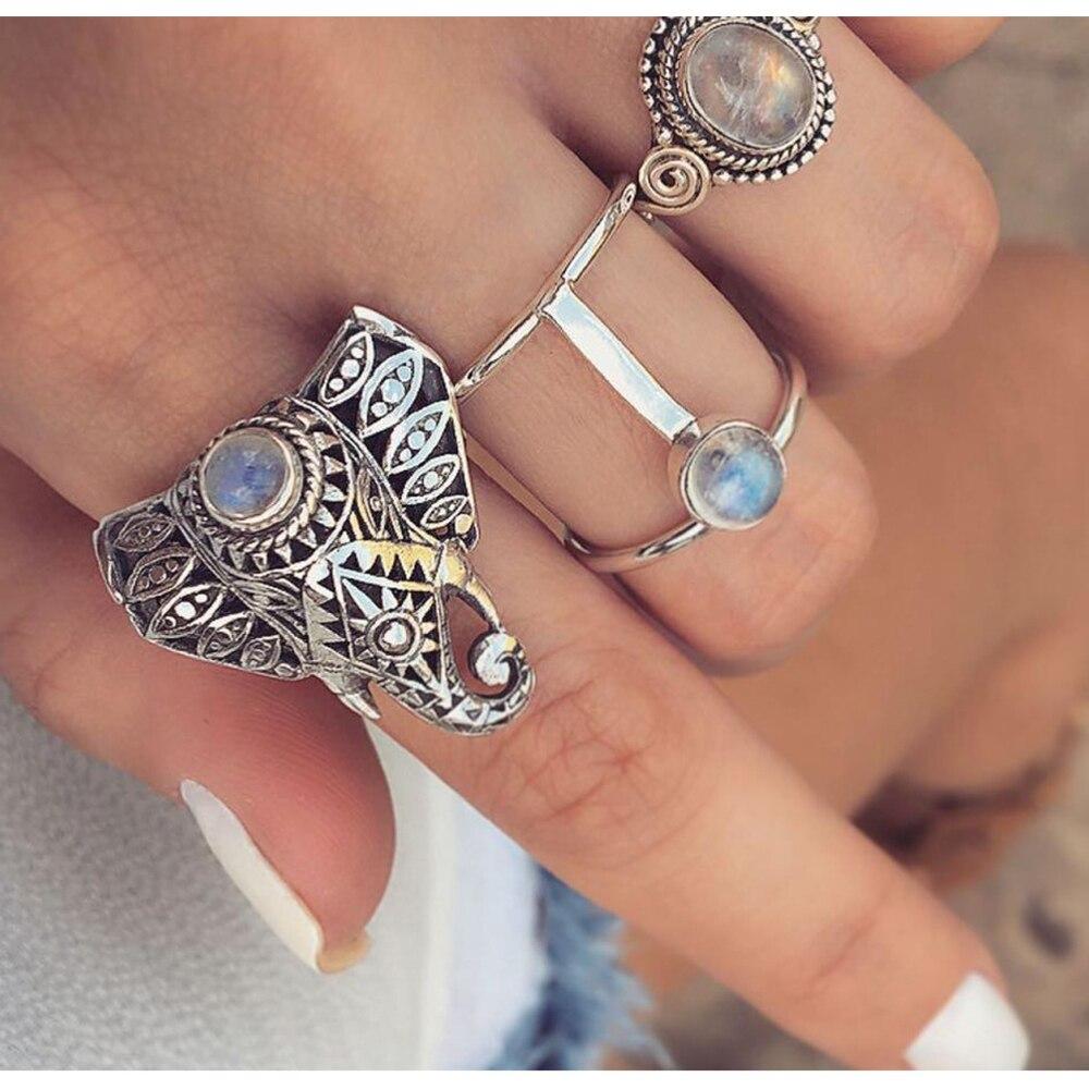 KISSWIFE 3Pcs/Set Fashion Vintage Silver Color Opals Elephant Ring Set Women Bohemia Carving Rings A Direct Sale