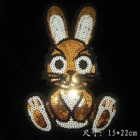 2pcslot rabbit sequins tiron on embroidery patches garment appliques hot fix for shirt