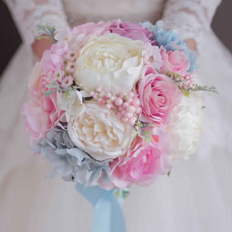 Light Pink Blue Wedding Bouquet Artificial Flower Wedding Decorations Pink Rose Blue Hydrangea Bridesmaid Bridal Brides Bouquet