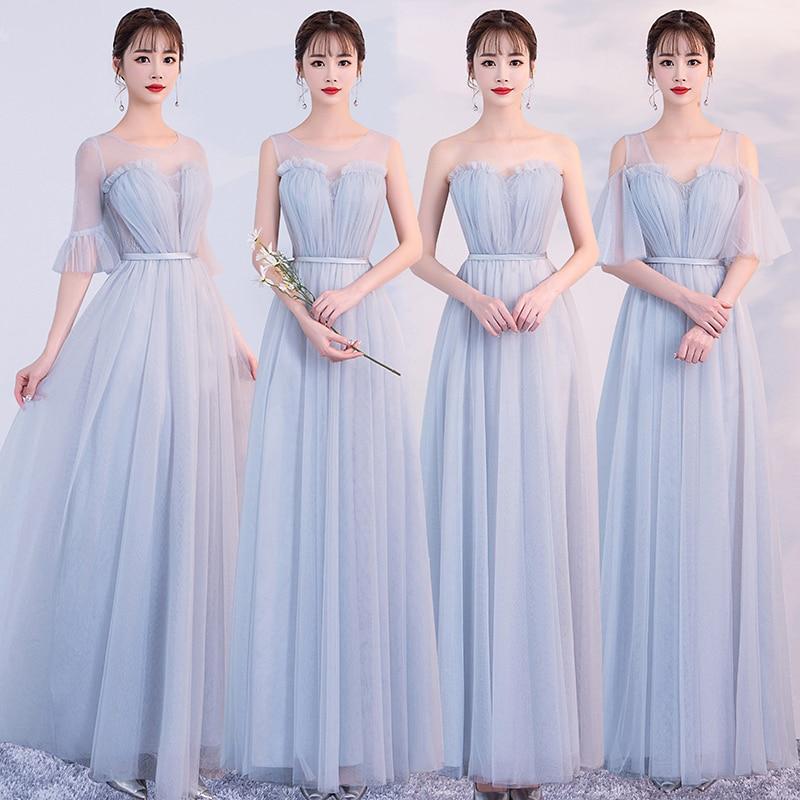 Nuevo diseño gris Sexy adorables largo vestidos de dama de honor Sweetheart A-line Prom boda fiesta hermana vestido elegante para las mujeres