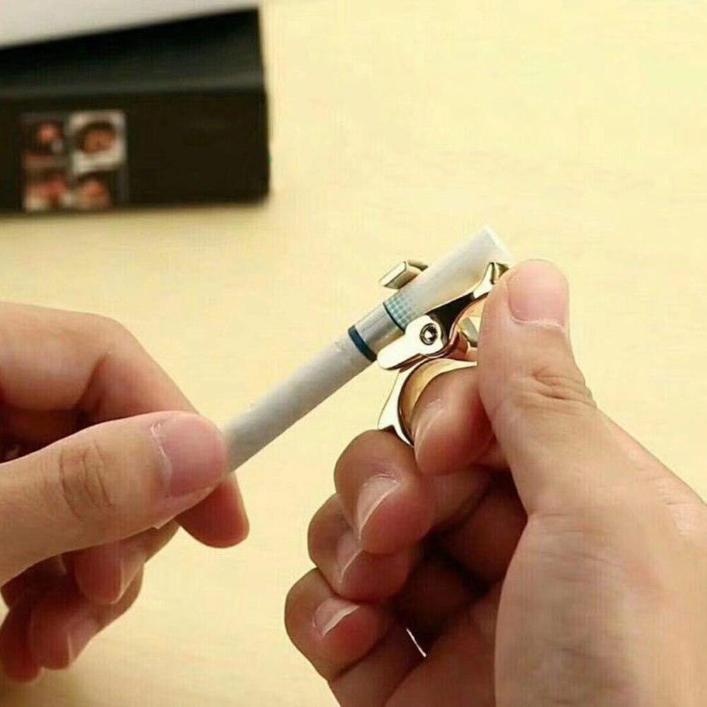 2019 venda quente mouse criativo liga de zinco cigarro tabaco anel mão quadro fumar clipe isqueiros cigarro titular