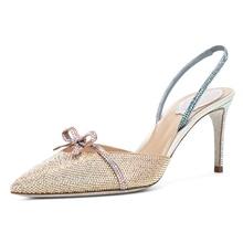 Kmeioo Summer Jewel Wedding Shoes Pointed Toe High Heels Bowtie Sandals Back Strap Thin Heels Women Evening Prom Pumps
