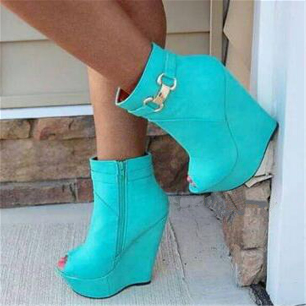 FGHGF Women's sandals, blue leather wedge sandals, high heels, sexy peep-toe sandals