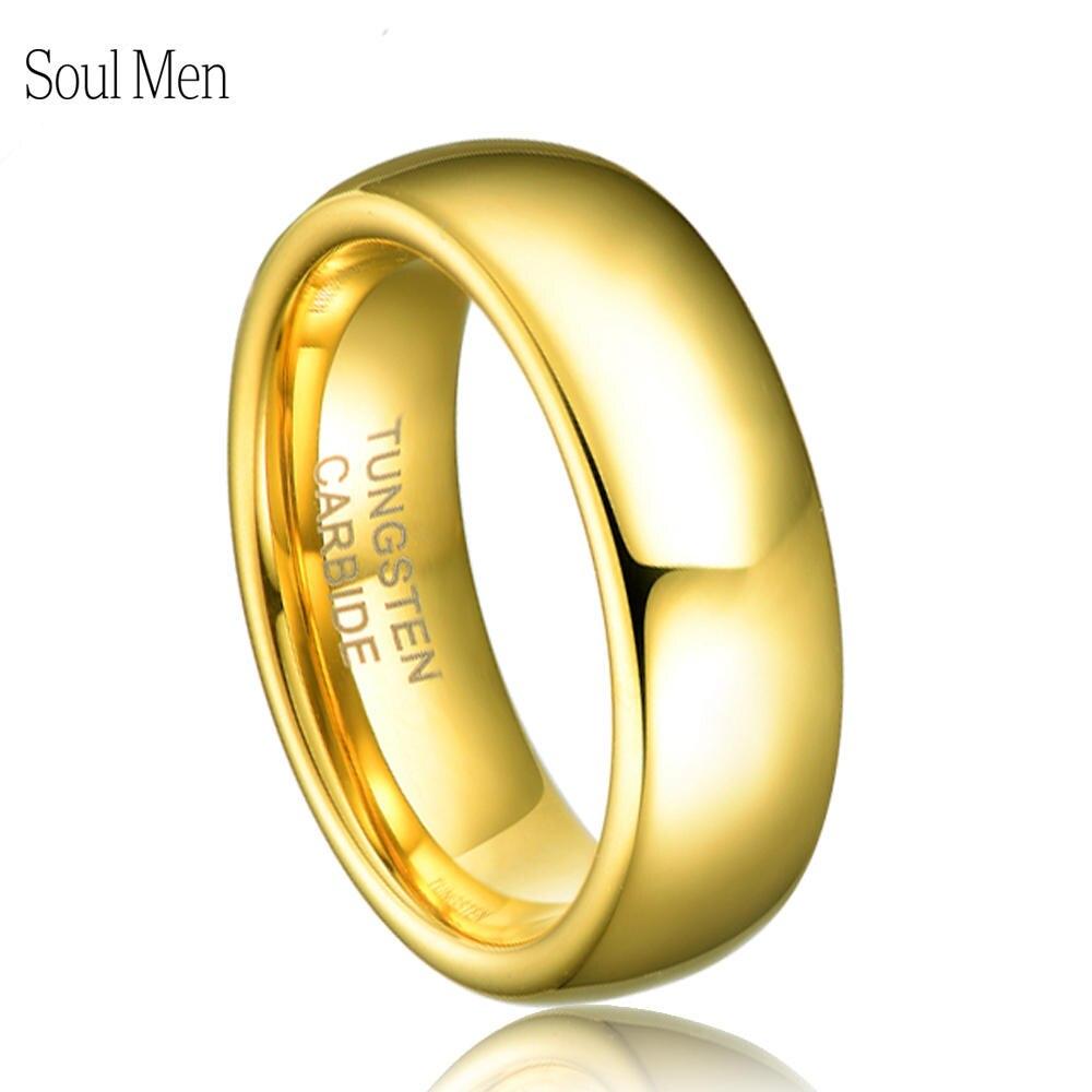 6MM Gold Farbe Ring Wolfram Hartmetall Hochzeit Engagement Band Männer frauen Allianz Schmuck TU025R