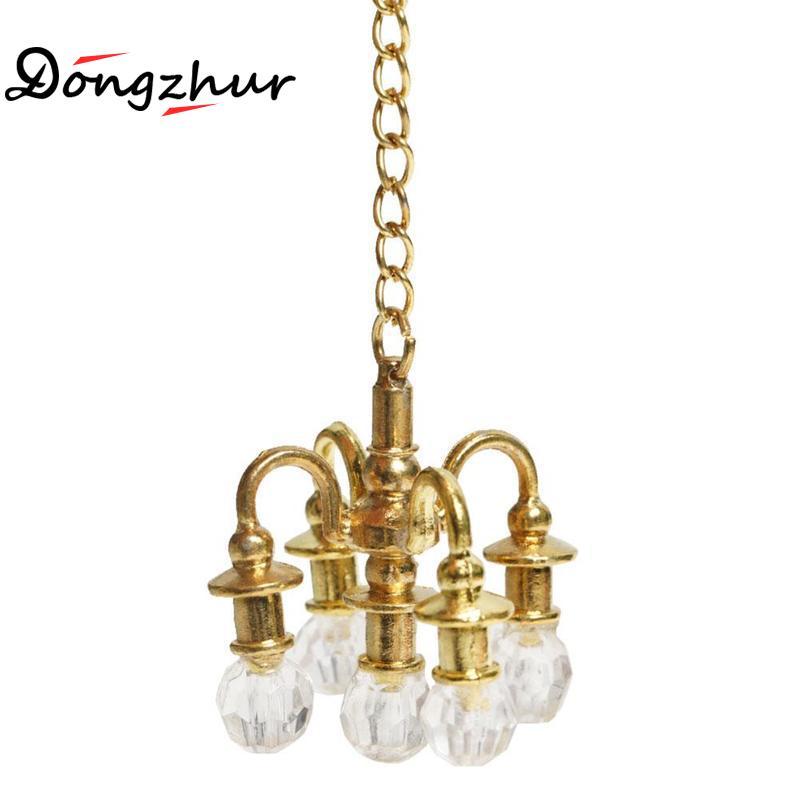 Dongzhur maison de poupée Miniature meubles 1:12 maison de poupée scène accessoires Mini lampe lustre ne peut pas allumer Miniature lustre