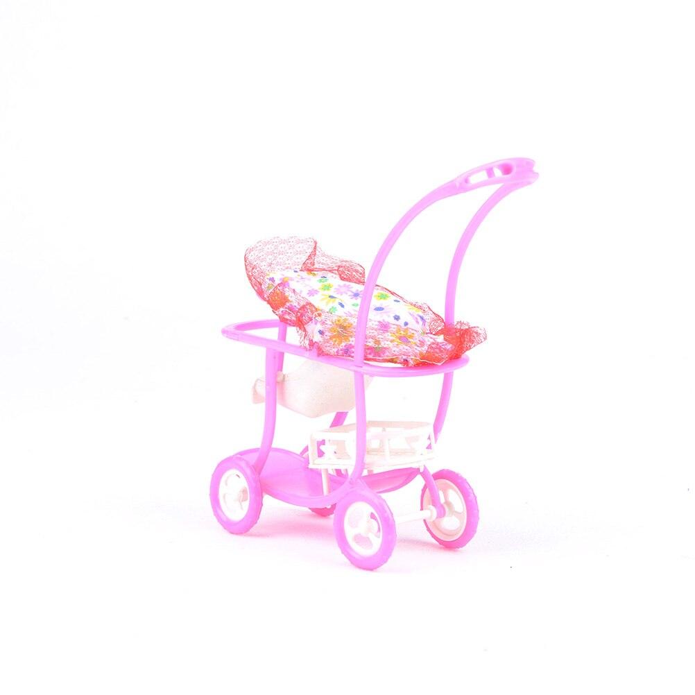 1pc doble cochecito de bebé de la marca superior de la Asamblea carro niños juguetes muebles para muñeca rosa de alta calidad