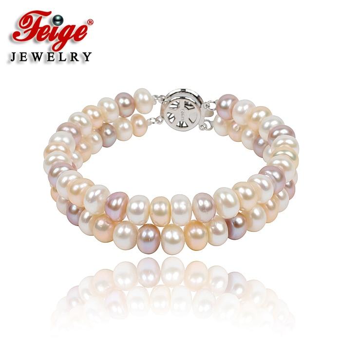 Pulsera Multicolor Natural de perlas de doble hilo para regalo de mujer 7-8MM perla de agua dulce hecha a mano joyería Dropshipping FEIGE