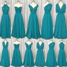 Real Picture Bridesmaid Dresses Convertible Pleats A Line Blue Wedding Party Dresses 2019 Cheap