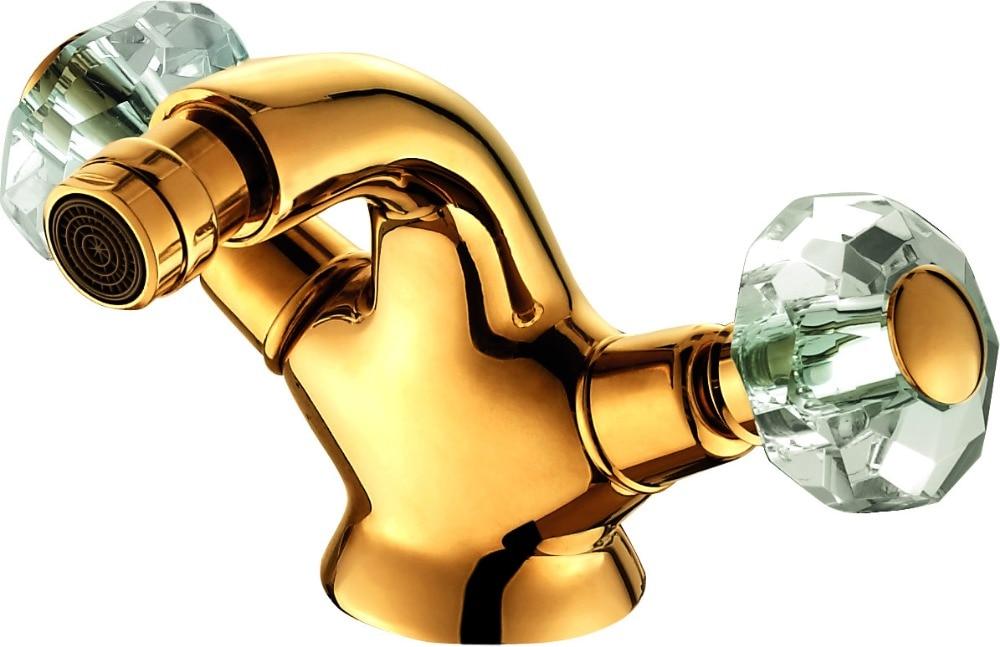 Envío Gratis, mangos dobles de cristal con agujero único, bidé con grifo mezclador, grifo con acabado dorado, montaje en cubierta