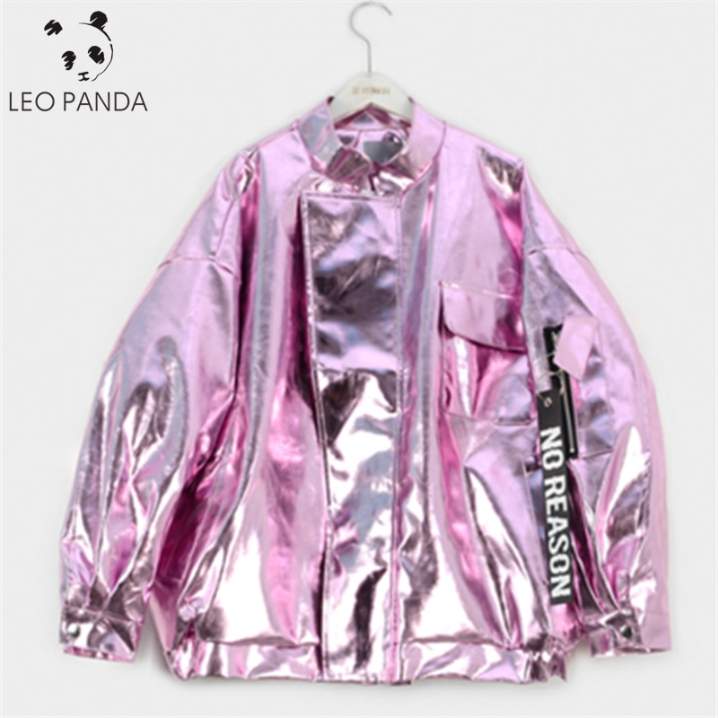 Chaqueta de otoño 2020 para mujer, de talla grande, holgada, de Metal, Color rosa, Morado, plateado, con cuello alto, abrigo de moda para fiesta para mujer, exterior HD236