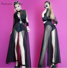 2017 mujer cantante Dj etapa Hollow Yarn vestido de noche larga manga Body Bar Dance Nightclub traje de escenario mujeres DS Dance Costume