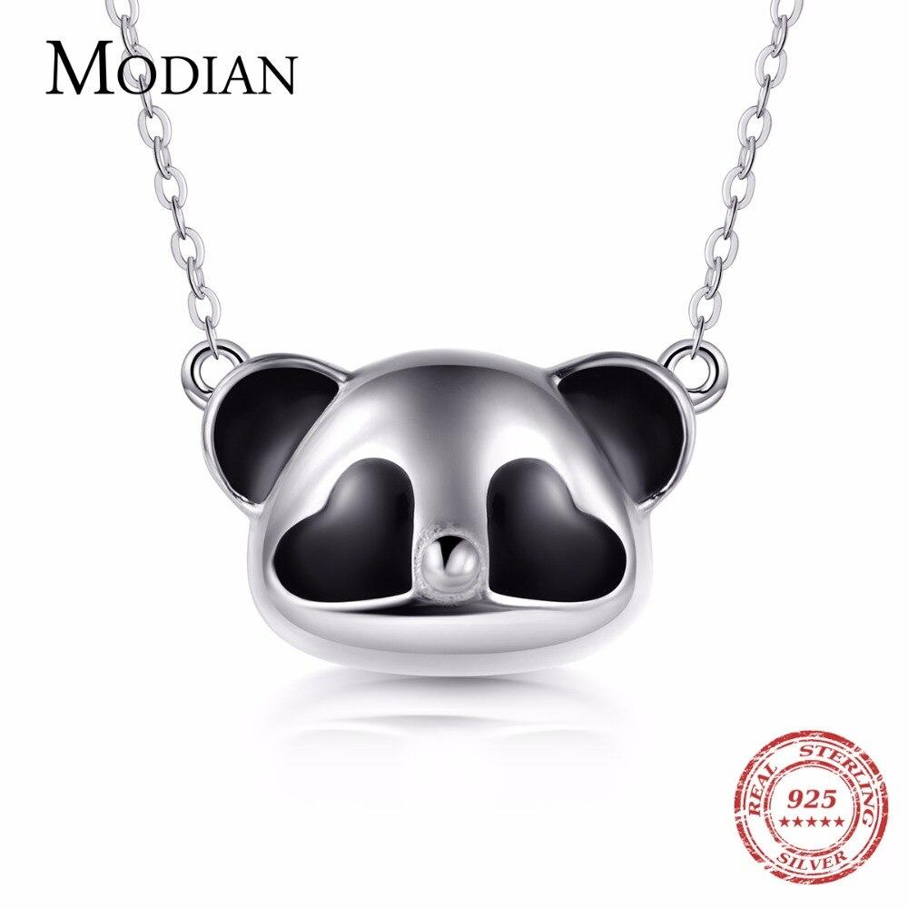 Modian nuevo Oriental elemento estilo 100% Collar de plata de ley 925 de moda 3D blanco y negro dije de Panda para la joyería de las mujeres