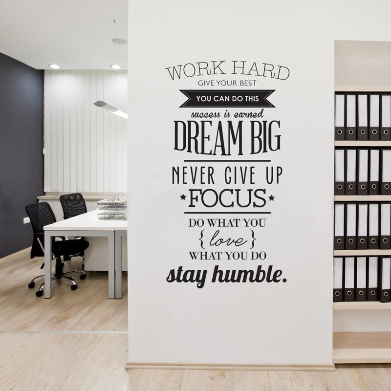 Inspirador trabajo citas duras vinilo pared pegatina póster pared arte calcomanías sala de estar decoración papel pintado hogar Decoración tamaño 104X56 cm