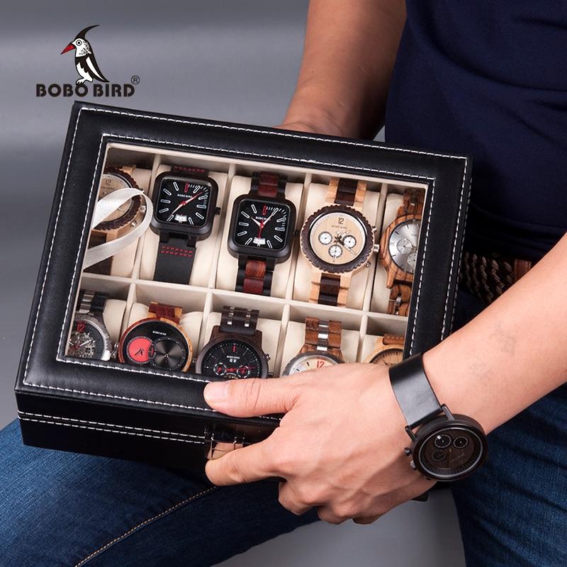 BOBO VOGEL PU Leder Display Fall Box Uhr Schmuck Lagerung Organizer 6 Slot 10 Slots saat kutusu