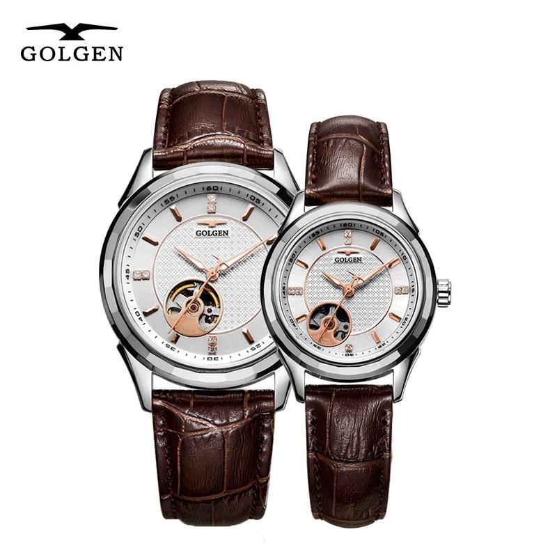 GOLGEN Lover Watches Women Men Mechanical Wristwatches Skeleton Automatic Couple Watch 50M Waterproof Gift