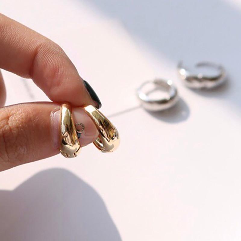 Srcoi na moda ouro prata cor grosso aros brincos círculo redondo geométrico huggie brincos minimalista mini pequeno laço atacado