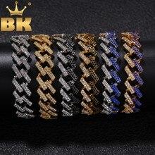 El BLING rey de moda para hombre pulsera completa helado strass 15 tuercas de mm Eslabón cubano azul/negro Multi-color pulseras Hip Hop